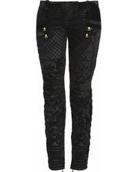 Balmain Velvet Brocade Motostyle Lowrise Skinny Jeans - Lyst
