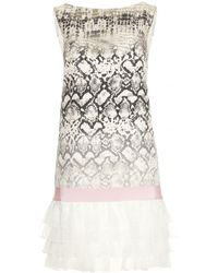 Giambattista Valli Print Shift Dress with Ruffled Trim - Lyst