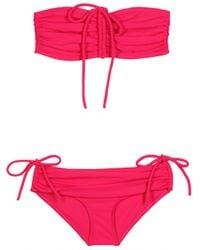 Lanvin Bandeau Bikini with Drawstring pink - Lyst