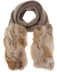 Miu Miu Fur Trimmed Scarf brown - Lyst