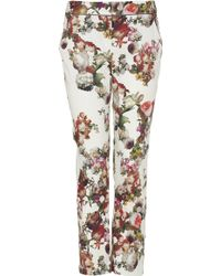Topshop Winter Floral Cigarette Trousers - Lyst