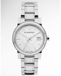 Burberry Ladies Stainless Steel Watch with Silver Check Dial - Lyst