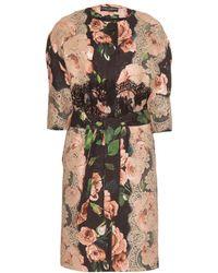 Dolce & Gabbana Floral Print Jacquard Coat with Lace Appliqué - Lyst