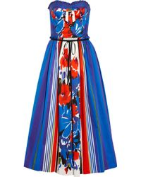 RED Valentino Printed Cotton Strapless Dress multicolor - Lyst