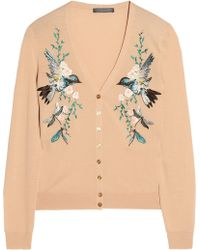 Alexander McQueen Embroidered Wool Cardigan - Lyst