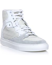 Balenciaga Ribbedleather Hightop Trainers white - Lyst
