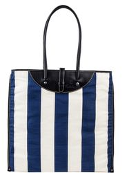 Calabrese Bags Blue and White Stripe Rotolo Canvas Tote Bag - Lyst
