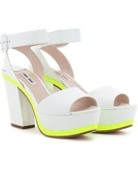 Miu Miu Patent Leather Platform Sandals - Lyst