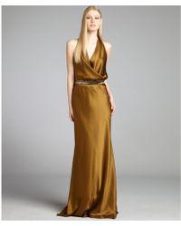 Nicole Miller  Silk Blouson Halter Bead Embellished Belted Gown - Lyst