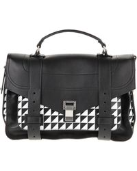 Proenza Schouler Triangle Print Leather Flap Front Bag with Metal Tab Closure - Lyst