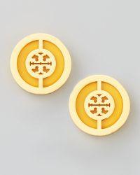 Tory Burch Deco Logo Stud Earrings - Lyst