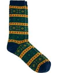Vanishing Elephant Mustard Jaquard Socks - Lyst