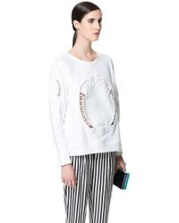 Zara Raffia Sweatshirt white - Lyst