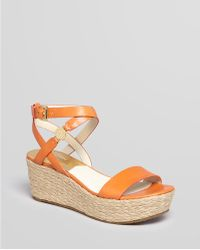 Michael Michael Kors Ariana Ostrich Effect Leather Wedge