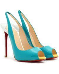 Christian Louboutin Patent Leather Peep Toe Pumps blue - Lyst