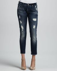 7 For All Mankind Skinny Distressed Cropped Jeans - Lyst