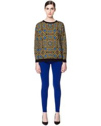 Zara Geometric Jacquard Pattern Sweater - Lyst