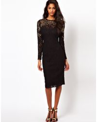Asos Midi Lace with Embellishment - Lyst