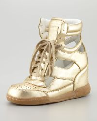 Marc By Marc Jacobs Cutout Wedge Sneaker Gold - Lyst