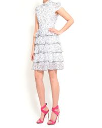 Alice + Olivia Effie High Neck Shirt Ruffled Tiered Dress gray - Lyst