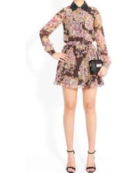 Gryphon - Silk Chiffon Floral Shirt Dress - Lyst