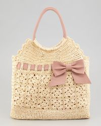 RED Valentino Leather and Crochet Raffia Tote Bag - Lyst
