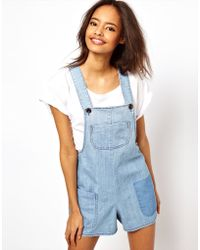 ASOS Collection Asos Bib Short Dungaree - Lyst