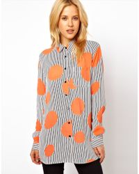 ASOS Collection Shirt in Oversized Spot and Stripe Print - Lyst