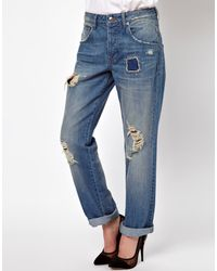 Asos Asos Saxby Boyfriend Jeans in Light Wash Vintage Rip and Repair - Lyst