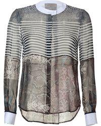 Preen By Thornton Bregazzi Multicolored Sheer Silk Blouse with Pythonstingray Print - Lyst