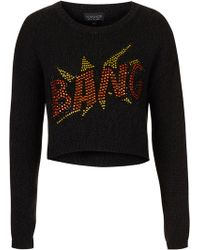 Topshop Knitted Crystal Bang Sweat - Lyst