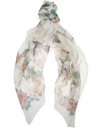 Alexander McQueen Printed Silk Chiffon Scarf - Lyst