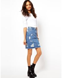 ASOS Collection Asos Denim Skirt in Ripped Wash - Lyst