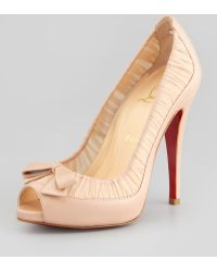 Christian Louboutin Angelique Chiffon Leather Red Sole Pump - Lyst