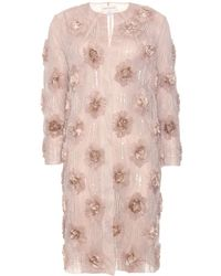 Dries Van Noten Ricci Silk Chiffon and Bead Embellished Coat pink - Lyst
