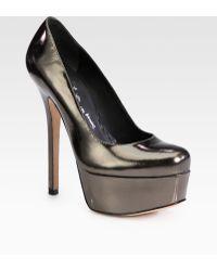 Alice + Olivia Larimore Metallic Leather Platform Pumps - Lyst