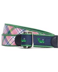 Brooks Brothers - Social Primer Pink Madras and Whale Print Reversible Ribbon Belt - Lyst