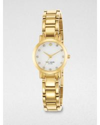 Kate Spade Gramercy Mini PavÉ Crystal, Mother-Of-Pearl & Goldtone Stainless Steel Bracelet Watch gold - Lyst