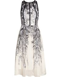 Lela Rose Printed Cotton-voile Dress - Lyst