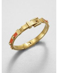 Michael Kors Studded Leather Inset Bangle Bracelet Tangerine - Lyst