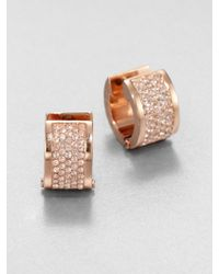 Michael Kors PavÉ Huggie Earrings/Rose Goldtone gold - Lyst