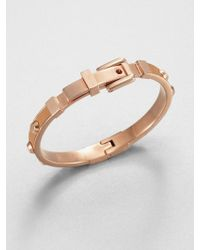 Michael Kors - Studded Leather Inset Bangle Bracelet Tan - Lyst