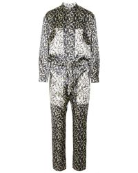 Mulberry Printed Hammered Silk Jumpsuit - Lyst