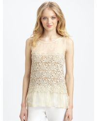 RED Valentino Silk Organza Lace Top - Lyst