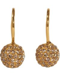 Shamballa Jewels - Brown Pave Diamond Gold Ball Drop Earrings - Lyst