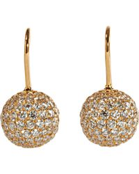 Shamballa Jewels - Pave Diamond Gold Ball Drop Earrings - Lyst