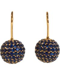 Shamballa Jewels - Pave Sapphire Ball Drop Earrings - Lyst