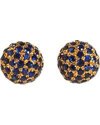 Shamballa Jewels - Pave Sapphire Ball Stud Earrings - Lyst