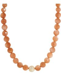 Shamballa Jewels - Peach Moonstone Diamond Gold Bead Necklace - Lyst