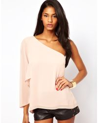 ASOS Collection Asos Top with One Shoulder and Angel Sleeve - Lyst
